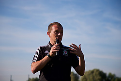 NEWPORT, WALES - Wednesday, July 25, 2018: Head of Player Development Richard Williams makes a speech after the Welsh Football Trust Cymru Cup 2018 at Dragon Park. (Pic by Paul Greenwood/Propaganda)