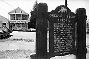 Y-680604-A12.  Aurora historical marker sign, Lowrie's Food Mart. Aurora, Oregon. June 4, 1968