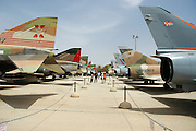 Israel, Hazirim, near Beer Sheva, Israeli Air Force museum. The national centre for Israel's aviation heritage Jet fighters on display