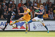 Mike Flynn of Newport stretches for the ball with Jamie Allen of Rochdale. Skybet football league two match, Newport county v Rochdale at Rodney Parade in Newport, South Wales on Saturday 3rd May 2014.<br /> pic by Mark Hawkins, Andrew Orchard sports photography.