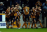 Photo: Jed Wee.<br />Hull City v Cardiff City. Coca Cola Championship.<br />03/12/2005.<br />Hull celebrate their opening goal.