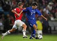 Fotball , 6. september 2006 , EM-kvalifisering , Norge - Moldova 02,<br /> Euro - q.<br /> Norway - Moldova<br /> <br /> Serghei Covalciuc , Moldova og Marius Johnsen , Norge