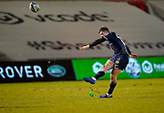 Sale Sharks fly-half AJ McGinty converts a try during the Gallagher Premiership match Sale Sharks -V- Worcester Warriors at The AJ Bell Stadium, Greater Manchester,England United Kingdom, Friday, January 08, 2021. (Steve Flynn/Image of Sport)