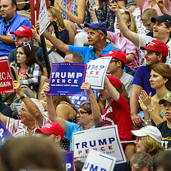 Mechanicsburg, PA - August 1, 2016: Supporters cheer, applaud, and wave signs at a Trump campaign rally.