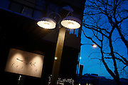 SHOT 1/11/11 6:19:53 PM - The front entrance to Frasca Food and Wine at dusk in Boulder, Co. Frasca is a highly-rated neighborhood restaurant inspired by the cuisine and culture of Friuli, Italy. Historically found throughout Friuli, Frascas were friendly and informal gathering places, a destination for farmers, friends, and families to share a meal and a bottle of wine. Identified by a tree branch hanging over a doorway portal, they were a symbol of local farm cuisine, wine, and warm hospitality. (Photo by Marc Piscotty / © 2011)