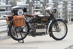 Robert Addis and Brian Pease's 4-cylinder 1916 Henderson class-2 motorcycle before the start of the Motorcycle Cannonball Race of the Century Run. Atlantic City, NJ, USA. September 9, 2016. Photography ©2016 Michael Lichter.