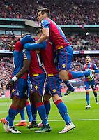 GOAL CELEBRATION - Crystal Palace's Yannick Bolasie celebrates scoring the opening goal with team mates<br /> <br /> Photographer Craig Mercer/CameraSport<br /> <br /> Football - The FA Cup Semi Final - Crystal Palace v Watford - Sunday 24th April 2016 - Wembley - London<br /> <br /> © CameraSport - 43 Linden Ave. Countesthorpe. Leicester. England. LE8 5PG - Tel: +44 (0) 116 277 4147 - admin@camerasport.com - www.camerasport.com
