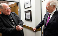 2 MARCH 2016 -- ST. LOUIS -- His Eminence Timothy Cardinal Dolan, Archbishop of New York, talks with former US Senator John Danforth (R-Mo.) following Dolan's lecture sponsored by the John C. Danforth Center on Religion and Politics at Washington University in St. Louis Wednesday, March 2, 2016 at Graham Chapel on the Danforth Campus in St. Louis. Cardinal Dolan, a native of St. Louis, discussed elements of leadership embodied by Pope John Paul II, Pope Benedict and Pope Francis. Photo by Sid Hastings, copyright © 2016 Washington University.