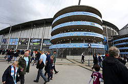 23 September 2017 Manchester : Premier League Football : Manchester City v Crystal Palace:  a spiral tower at the Etihad Stadium with a boastful list of places City fans come from.<br /> Photo: Mark Leech