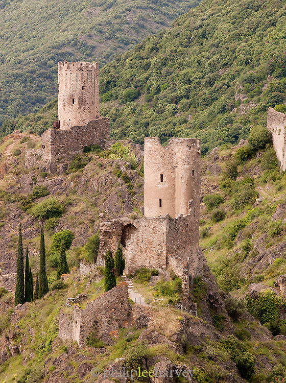 Château de Lastours, a Cathar castle ruin, Lastours, Languedoc region, France
