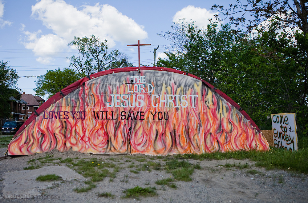 Makeshift church structure in Detroit