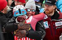 Alpint<br /> FIS World Cup<br /> Foto: Gepa/Digitalsport<br /> NORWAY ONLY<br /> <br /> KRANJSKA GORA,SLOVENIA,06.MAR.16 - ALPINE SKIING - FIS World Cup, slalom, men. Image shows the rejoicing of Henrik Kristoffersen (NOR) with team members.
