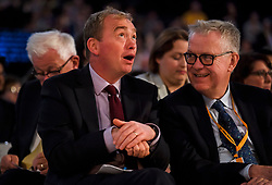 © Licensed to London News Pictures. 18/09/2018. Brighton, UK.  Former Liberal Democrat leader TIM FARRON (left) attends the final day of the Liberal Democrat Autumn Conference in Brighton, East Sussex on September 18, 2018. This years event has been mainly focused around Brexit, the UK's departure from the EU. Photo credit: Ben Cawthra/LNP