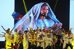 August 6, 2017 - A dance was staged by participants of Asian Youth Day 2017 (AYD7) from Philippines on the artistic night of Philippines participants, Saturday, August 5, 2017 in Yogyakarta. Sri Sultan Hamengkubuwono X, Minister of Religious Affairs of Indonesia, Lukman Hakim Saifuddin and Archbishop of Semarang Diocese Mgr. Robertus Rubiyatmoko officially opens Asian Youth Day 2017 (AYD7) on Wednesday, August 2, 2017. Lukman Hakim also appreciates and thanks for the trust of Catholic Church leaders and the Holy Father Pope Francis who has appointed Indonesia as the site of the seventh Asian Youth Day 2017. (Credit Image: © Slamet Riyadi via ZUMA Wire)