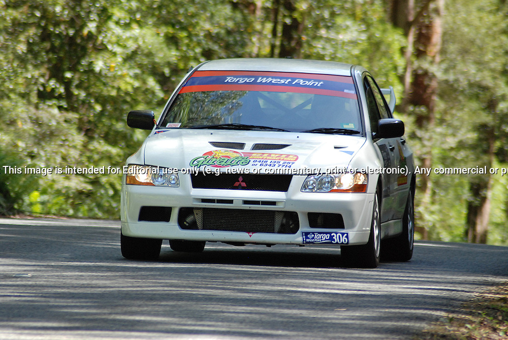 306 Luana Garwood & Andrew Kuc..2001 Mitsubishi Lancer Evolution VII.Day 1.Targa Wrest Point 2010.Southern Tasmania.30th of January 2010.(C) Sarah Biggin.Use information: This image is intended for Editorial use only (e.g. news or commentary, print or electronic). Any commercial or promotional use requires additional clearance.