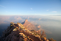 Group of people running the South Kaibab Trail. Grand Canyon National Park, AZ.