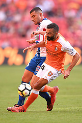 October 22, 2017 - Brisbane, QUEENSLAND, AUSTRALIA - Andrew Nabbout of the Jets (#15, left) and Fahid Ben Khalfallah of the Roar (#14, right) compete for the ball during the round three Hyundai A-League match between the Brisbane Roar and the Newcastle Jets at Suncorp Stadium on October 22, 2017 in Brisbane, Australia. (Credit Image: © Albert Perez via ZUMA Wire)