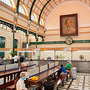 interior Of Saigon Central Post Office With Ho Chi Minh Portrait