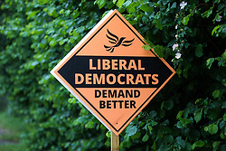 A campaign sign for the Liberal Democrat candidate Sarah Green is pictured on the day of the announcement of the result of the Chesham and Amersham by-election on 18th June 2021 in Chesham, United Kingdom. The Liberal Democrats won the by-election by 8,028 votes from the Conservatives, overturning a 16,000 majority in a seat which had always previously returned a Conservative MP.