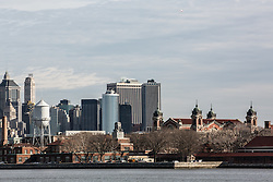 view of Ellis Island from New Jersey