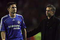 Photo: Paul Thomas.<br /> Liverpool v Chelsea. UEFA Champions League. Semi Final, 2nd Leg. 01/05/2007.<br /> <br /> Dejected manager (R) Jose Mourinho and player Frank Lampard of Chelsea.