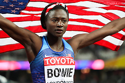London, 2017 August 06. Tori Bowie, USA,  winner of women's 100m final on day three of the IAAF London 2017 world Championships at the London Stadium. © Paul Davey.
