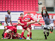 Scarlets' Gareth Davies © kicks and clears his line.<br /> Guinness Pro14 rugby match, Scarlets v Southern Kings at the Parc y Scarlets in Llanelli, Carms, Wales on Saturday 2nd September 2017.<br /> pic by Craig Thomas, Andrew Orchard sports photography.