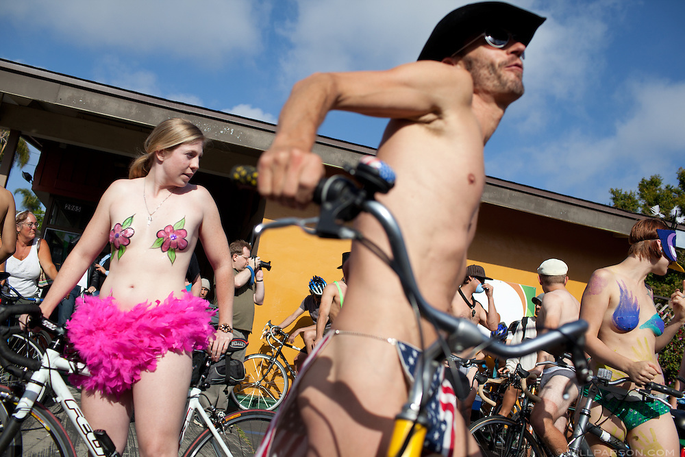 The San Diego World Naked Bike Ride rode through Park West and Hillcrest after launching from the parking lot of Evolution Fast Food on 5th Avenue, June 12, 2010.