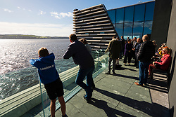 Outdoor viewing platform overlooking River Tay at new V&A Museum on first weekend after opening in Dundee , Scotland, UK.