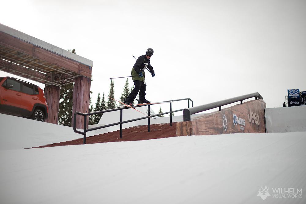 Tom Wallisch during Ski Slopestyle Practice during 2015 X Games Aspen at Buttermilk Mountain in Aspen, CO. ©Brett Wilhelm/ESPN