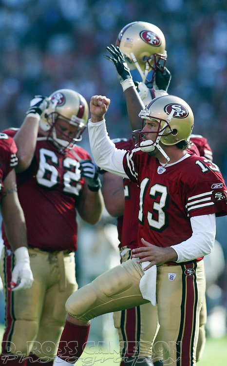 San Francisco 49ers quarterback Tim Rattay (13) celebrates his team's victory over the St. Louis Rams in the fourth quarter of an NFL football game, Sunday, Sept. 11, 2005 at Candlestick Park in San Francisco. The 49ers won, 28-25. (D. Ross Cameron/the Oakland Tribune)