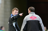 Photo: Andrew Unwin.<br />Middlesbrough v Everton. The Barclays Premiership. 29/04/2006.<br />Everton's manager, David Moyes (L), argues with the fourth official, Mr C Boyeson (R).
