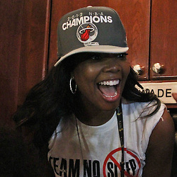 Jun 21, 2012; Miami, FL, USA; Gabrielle Union girlfriend of Miami Heat shooting guard Dwyane Wade celebrates in the locker room after winning the 2012 NBA championship against the Oklahoma City Thunder at the American Airlines Arena. Miami won 121-106. Mandatory Credit: Derick E. Hingle-US PRESSWIRE