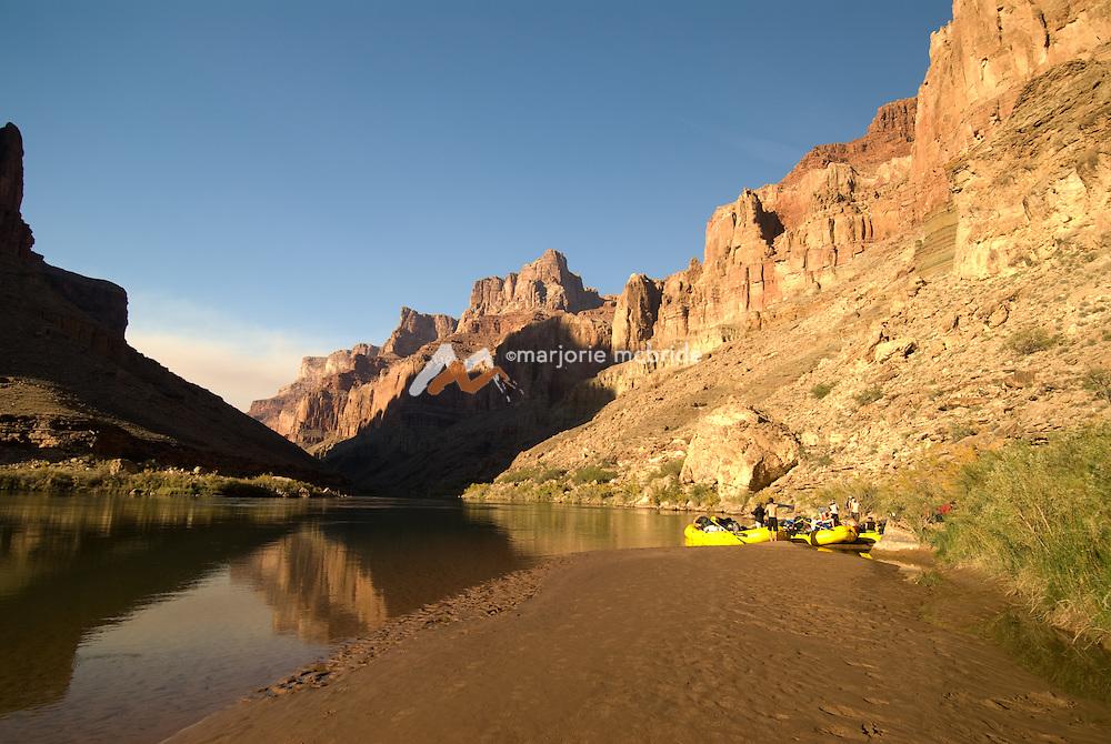 Yellow boats along the Colorado River