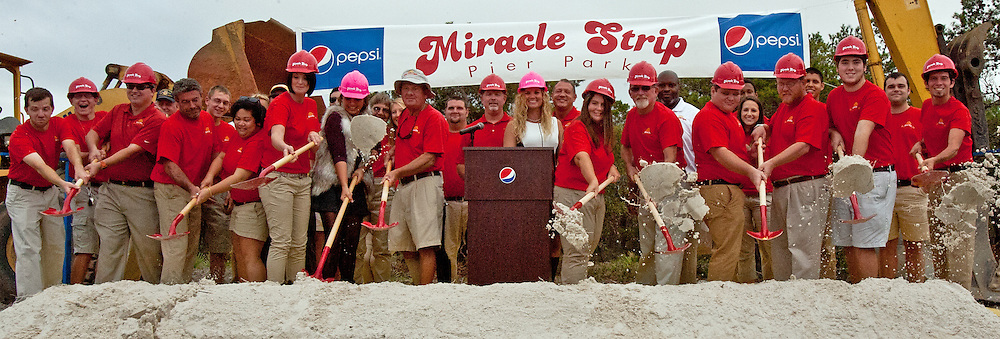 Miracle Strip owners Teddy & Jenny Meeks are joined by Miracle Strip employees in the ground breaking for the new, expanded Miracle Strip Amusement Park in Pier Park