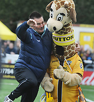 Football - 2016 / 2017 FA Cup - Fourth Round: Sutton United vs. Leeds United<br /> <br /> Sutton Manager Paul Doswell jokes with Sutton Mascot 'Jenny'  at Gander Green Lane.<br /> <br /> COLORSPORT/ANDREW COWIE