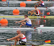 Shunyi, CHINA.  Start of a heat of the mens single sculls, GBR M1X Alan CAMPBELL, GBR M1X, moves away from the start pontoon at the 2008 Olympic Regatta, Shunyi Rowing Course. Monday. 11.2008  [Mandatory Credit: Peter SPURRIER, Intersport Images]