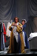 03/17/2009 -- GASTON DE CARDENAS/EL NUEVO HERALD --  Le Nozze Di Figaro -- Florida Grand Opera Production of Le Nozze di Figaro featuring Aaron St. Clair Nicholson, as The Count, left, and , Valentina Farcas as Susanna, right.