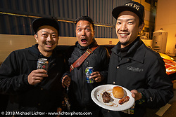 Bootleg's Yoji Kikuhara and friends at the Mooneyes afterparty at their Area-1 store for overseas guests after the Yokohama show. Monday, December 3, 2018. Photography ©2018 Michael Lichter.