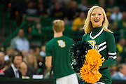 WACO, TX - DECEMBER 9: A Baylor Bears cheerleader performs during a timeout against the Texas A&M Aggies on December 9, 2014 at the Ferrell Center in Waco, Texas.  (Photo by Cooper Neill/Getty Images) *** Local Caption ***