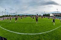 KELOWNA, BC - AUGUST 17:  The Okanagan Sun warm up on the field against the Westshore Rebels at the Apple Bowl on August 17, 2019 in Kelowna, Canada. (Photo by Marissa Baecker/Shoot the Breeze)