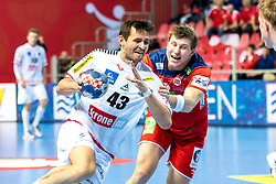 16.01.2018, Zatika Sport Centre, Porec, CRO, EHF EM, Herren, Österreich vs Norwegen, Gruppe B, im Bild Thomas Kandolf (AUT), Goran Johannessen (NOR) // during the preliminary round, group B match of the EHF men' s Handball European Championship between Austria and Norway at the Zatika Sport Centre in Porec, Croatia on 2018/01/16. EXPA Pictures © 2018, PhotoCredit: EXPA/ Sebastian Pucher