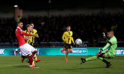 Nottingham Forest's Lewis Grabban scores his side's first goal of the game during the Carabao Cup, Fourth Round match at the Pirelli Stadium, Burton.