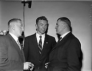 04/09/1960<br /> 09/04/1960<br /> 4 September 1960 <br /> Reception for the Tipperary team after the All-Ireland Final.<br /> General Richard Mulcahy, T.D. (left) and Lieut. -General M. J. Costello (Right), managing Director of the Irish Sugar Co. (both Tipperary men) chatting to the captain of the Tipperary All-Ireland Hurling Final team, Tony Wall at the reception to the Tipperary teams held in Dublin on Sunday the 4th of September 1960.
