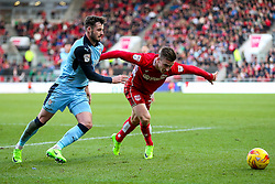 Joe Bryan of Bristol City is challenged by Anthony Forde of Rotherham United - Rogan Thomson/JMP - 04/02/2017 - FOOTBALL - Ashton Gate Stadium - Bristol, England - Bristol City v Rotherham United - Sky Bet Championship.