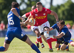 June 16, 2018 - Ottawa, ON, U.S. - OTTAWA, ON - JUNE 16: Cole Davis (11 Wing ) of Canada runs through the Russian defence in the Canada versus Russia international Rugby Union action on June 16, 2018, at Twin Elms Rugby Park in Ottawa, Canada. Russia won the game 43-20. (Photo by Sean Burges/Icon Sportswire) (Credit Image: © Sean Burges/Icon SMI via ZUMA Press)