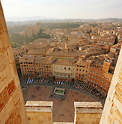 View from tower onto Piazza Del Campo, Siena, Tuscany, Italy