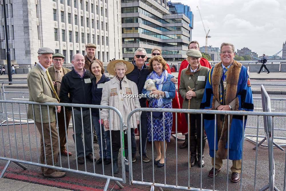 London,England,UK: 24th September 2016: Freemen of the City of London demonstration their right to drive sheep across London Bridge and raising money for charity at London Bridge, UK. Photo by See Li