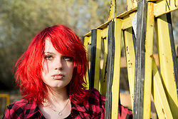 Angry young teenage defiant Punk girl portrait