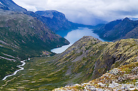 Norway, Jotunheimen. Memurudalen at the northern side of the Gjende Lake.